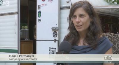 Captura del reportatge del TN de Tv3 de la campanya del Tantarantana on NUS va presentar Monòlegs a la plaça